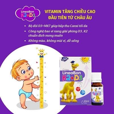 sản phẩm Lineabon Vitamin D3 + K2 Tăng Chiều Cao cho bé 2
