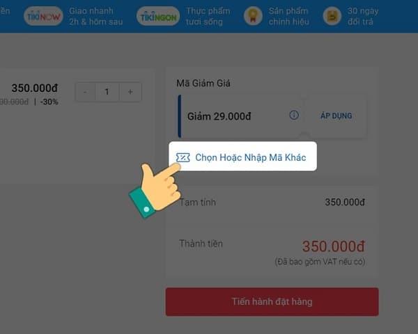 Cách mua hàng Tiki trên máy tính